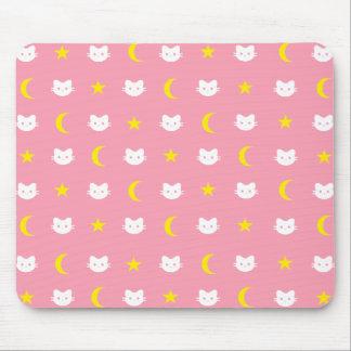 Lua do gato do gatinho e estrelas Mousepad