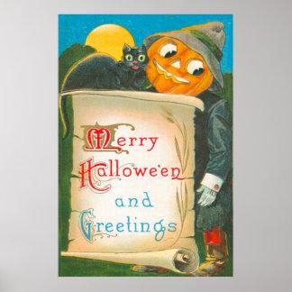 Lua do gato preto do espantalho da lanterna de Jac Poster