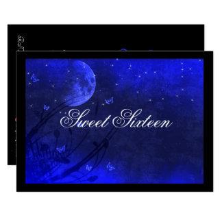 Lua e estrelas, convites azuis do doce dezesseis