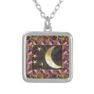 Lua e estrelas: Fundo elegante da noite estrelado Bijuterias