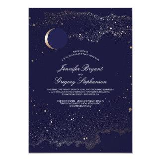 Lua e festa de noivado crescentes das estrelas da convite 12.7 x 17.78cm