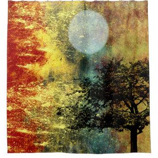 Lua e paisagem abstrata da árvore cortina para box
