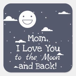 Lua feliz eu te amo à lua & às etiquetas traseiras