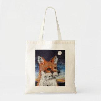 Lua que olha o saco de compras do bolsa do Fox