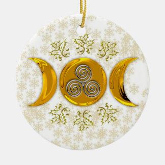 Lua tripla dourada & espiral tripla de prata com ornamento de cerâmica redondo