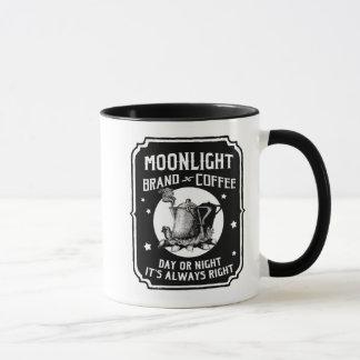 Luar da lua da caneca da etiqueta do café do