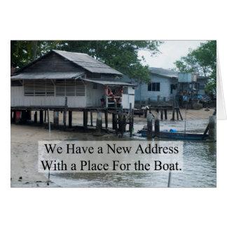 Lugar para a mudança do barco de endereço cartão comemorativo