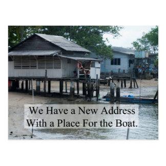Lugar para a mudança do barco de endereço cartão postal