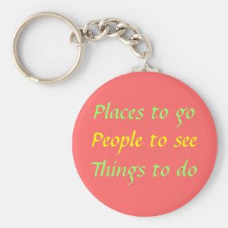 Lugares a ir; Pessoas a ver; Coisas a fazer Chaveiro