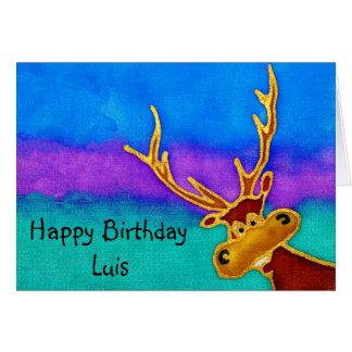 Luis, cartão parvo do veado do feliz aniversario