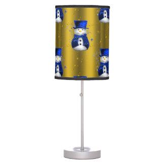 Luminária Boneco de neve azul no Natal do ouro