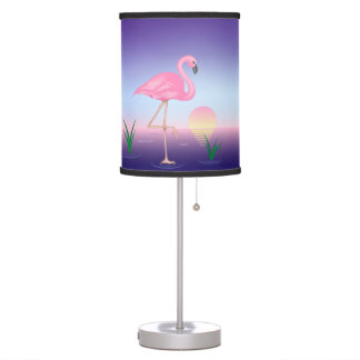 Luminária Candeeiro de mesa cor-de-rosa do flamingo