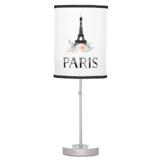 Luminária De Mesa A torre Eiffel na moda e cora flores cor-de-rosa  