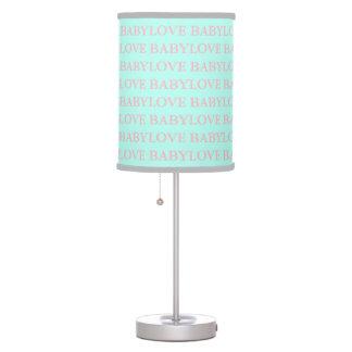 Luminária De Mesa Amor do BEBÊ & do CO cor-de-rosa e lâmpada do bebê