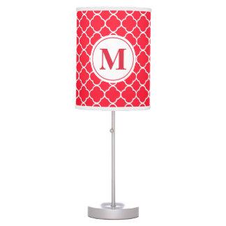 Luminária De Mesa Candeeiro de mesa moderno vermelho do monograma de