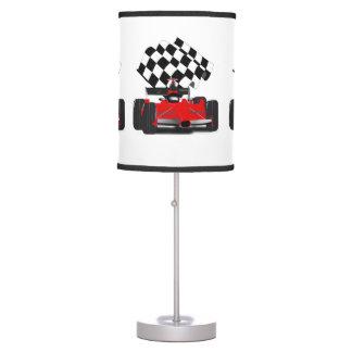 Luminária De Mesa Carro de corridas vermelho com bandeira Checkered