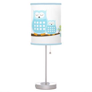 Luminária De Mesa Corujas azuis doces brancas com guarnição azul