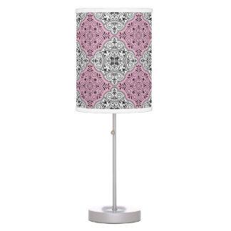 Luminária De Mesa Flourish Rococo cor-de-rosa do teste padrão