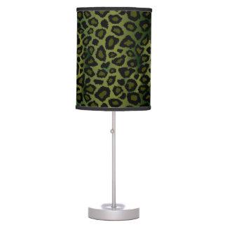 Luminária De Mesa Impressão animal do leopardo da verde azeitona e