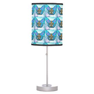 Blue Frenchie Lamp