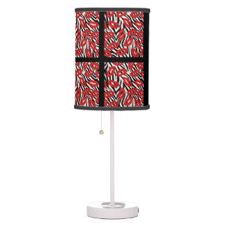 Luminária De Mesa Luz vermelha da mesa dos lábios das listras da