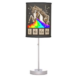 Luminária De Mesa O unicórnio da química pukes o arco-íris