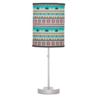 Luminária De Mesa Ouro tribal de turquesa do rosa do teste padrão do