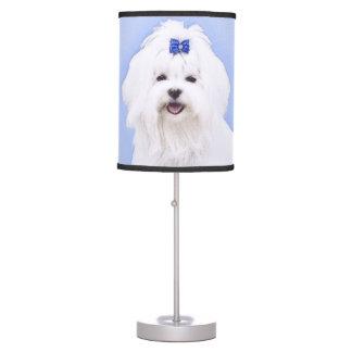 Luminária De Mesa Pintura maltesa - arte original bonito do cão