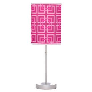 Luminária De Mesa Quadrados, fúcsia e luz geométricos modernos -