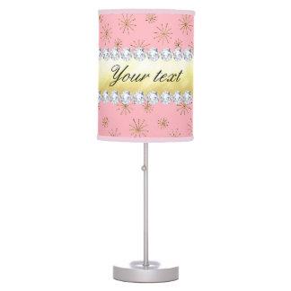 Luminária De Mesa Rosa chique dos flocos de neve do brilho do ouro