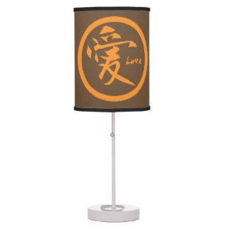 Luminária De Mesa Símbolo japonês japonês alaranjado do kamon | para