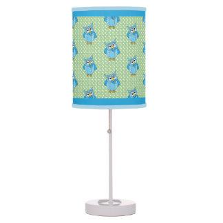Luminária De Mesa Tema da coruja das bolinhas dos azuis bebés