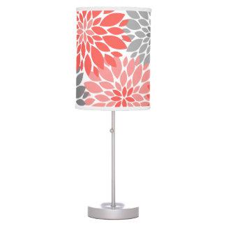 Luminária De Mesa Teste padrão floral dos crisântemos corais e