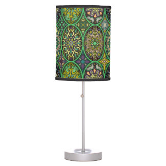 Luminária De Mesa Teste padrão floral étnico abstrato colorido da