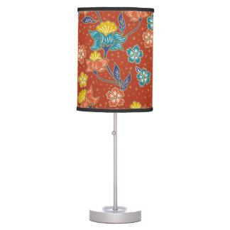 Luminária De Mesa Teste padrão floral indonésio exótico vermelho do