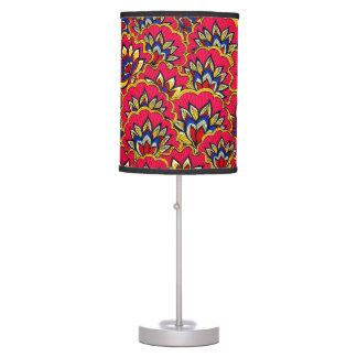 Luminária De Mesa Teste padrão floral vibrante vermelho asiático