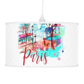 Luminária De Teto A torre Eiffel encontra-me no Splatter da aguarela