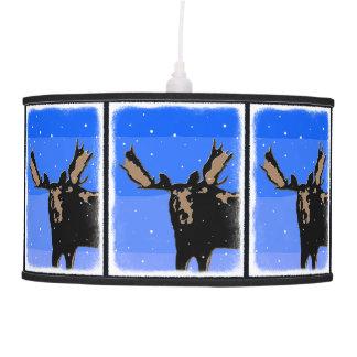 Luminária De Teto Alces no inverno - arte original dos animais