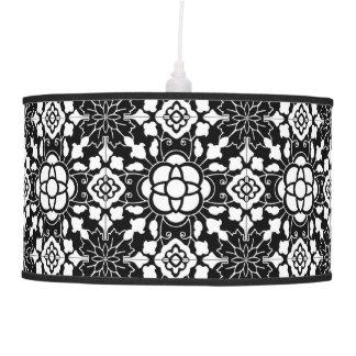 Luminária De Teto Azulejo marroquino floral, preto e branco