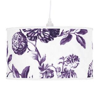 Luminária De Teto Branco & Mulberry Toile floral botânico roxo