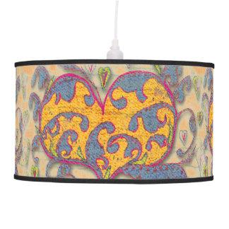 Luminária De Teto Coração da arte popular com folhas e flores