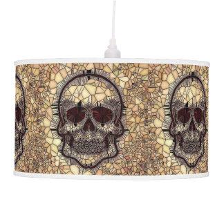 Luminária De Teto Crânio de vidro do mosaico, bege