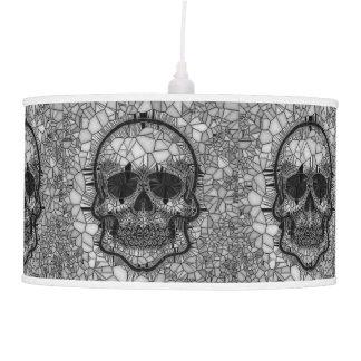 Luminária De Teto Crânio de vidro do mosaico, branco preto
