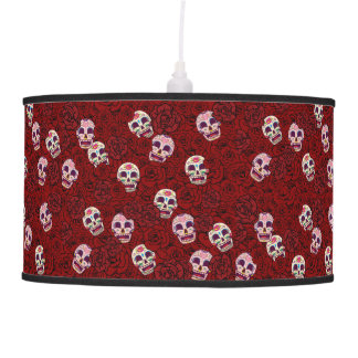 Luminária De Teto Crânio engraçado do açúcar da rosa vermelha