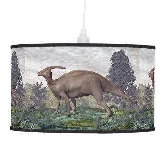 Luminária De Teto Dinossauro de Parasaurolophus entre árvores do