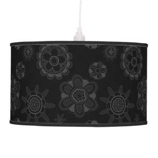Luminária De Teto Flores retros preto & cinza