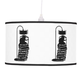 Luminária De Teto Gato preto que lê jogos de Shakespeare