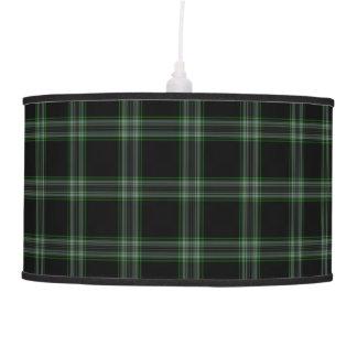 Luminária De Teto Grande xadrez de Tartan verde cinzenta preta dobro