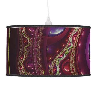 Luminária De Teto Laço do ouro com os rubis do Fractal no cetim de