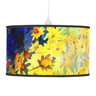 Luminária De Teto Margaridas azuis e amarelas em uns vasos de flor